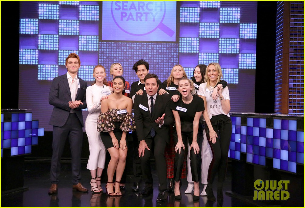riverdale cast miley cyrus family face off in hilarious tonight show game show 02