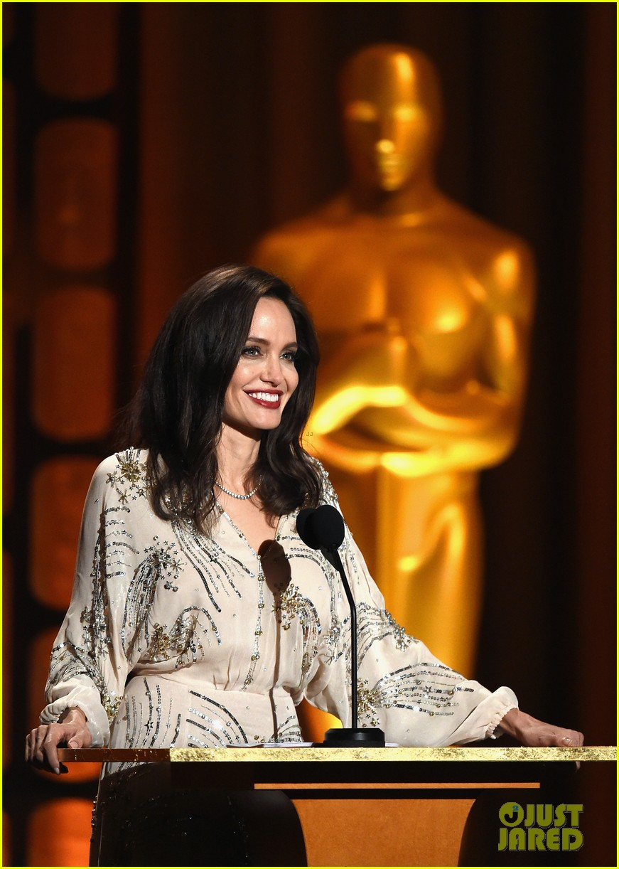 angelina jolie speaks on stage while presenting at governors awards 043985971