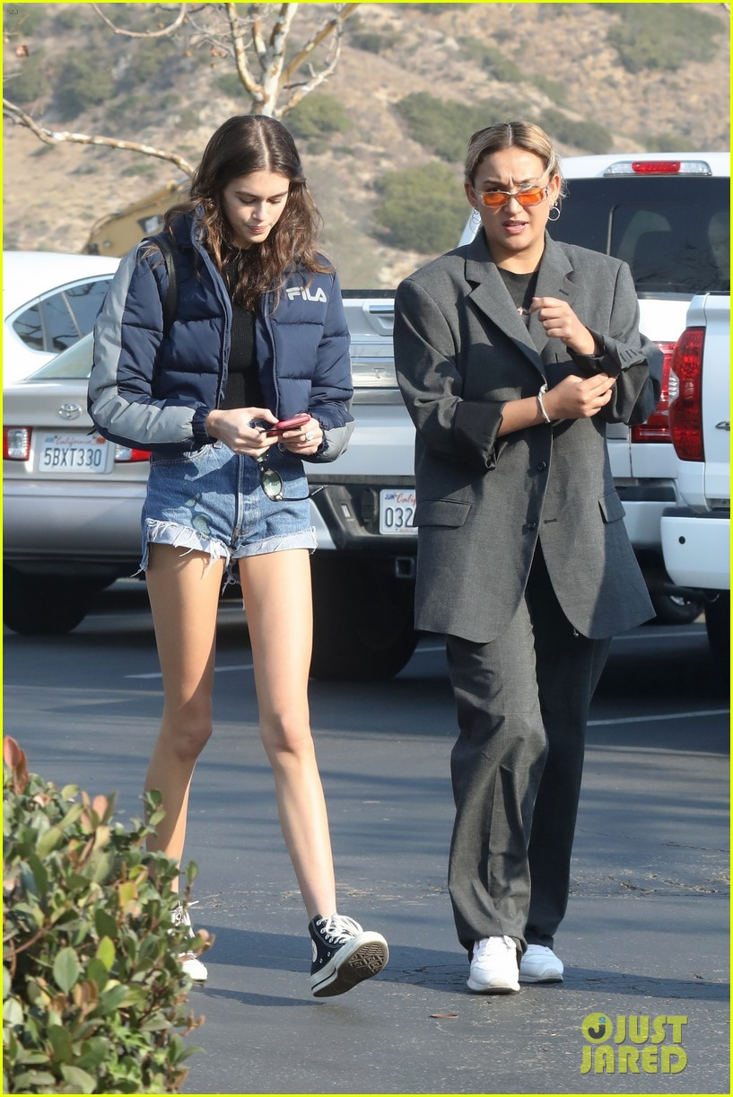 kaia gerber rocks short shorts for afternoon outing 034003146