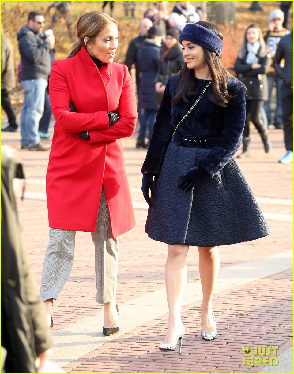 jennifer lopez and vanessa hudgens look chic on second act set 033996990
