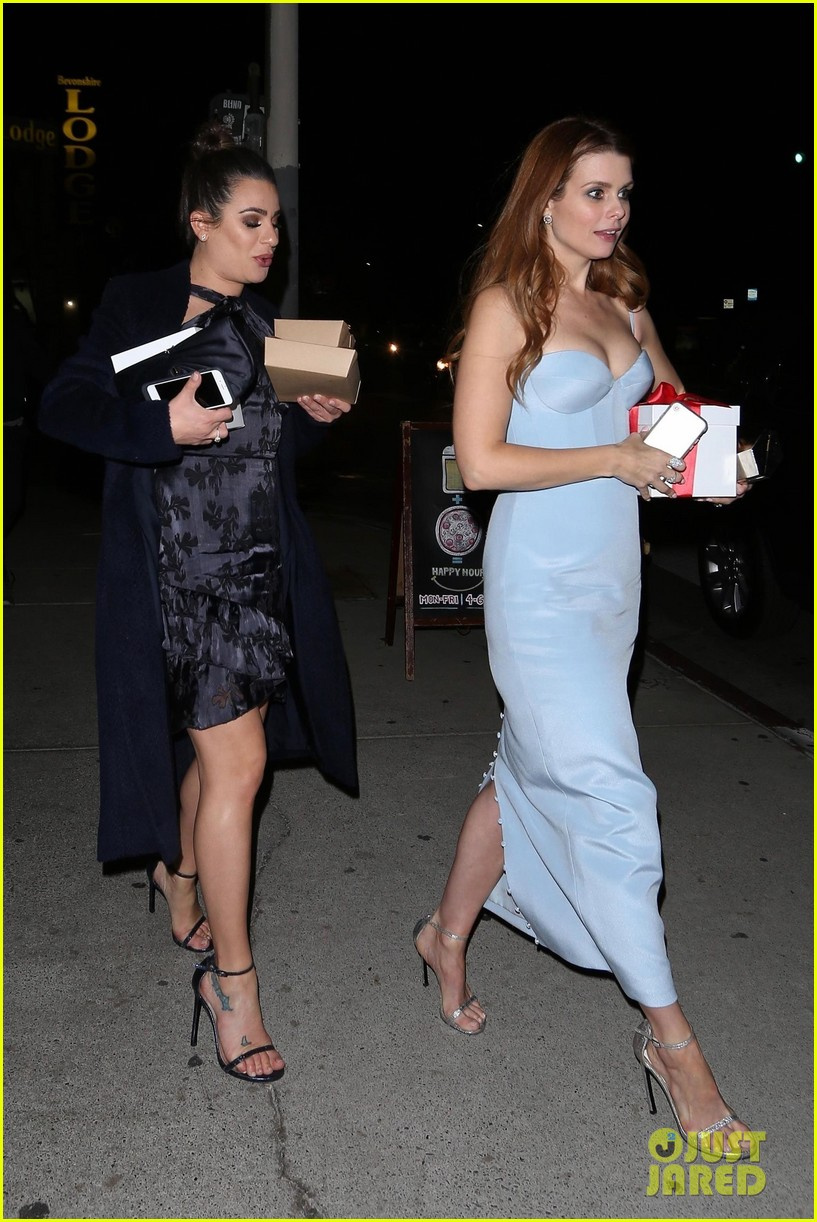 lea michele joanna garcia swisher head to a holiday party in la 013999312