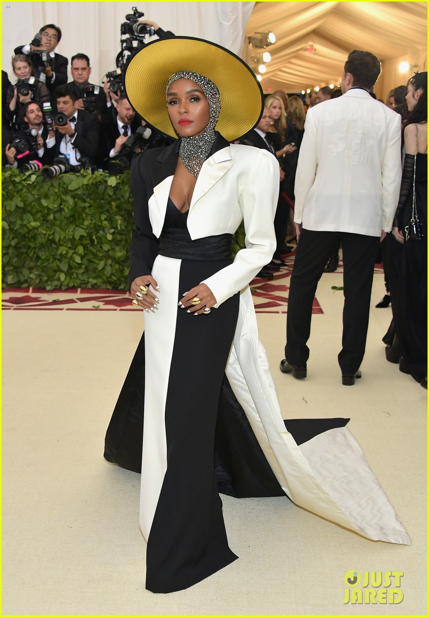 janelle monae is angelic in halo hat and beaded head wrap at met gala 2018 01