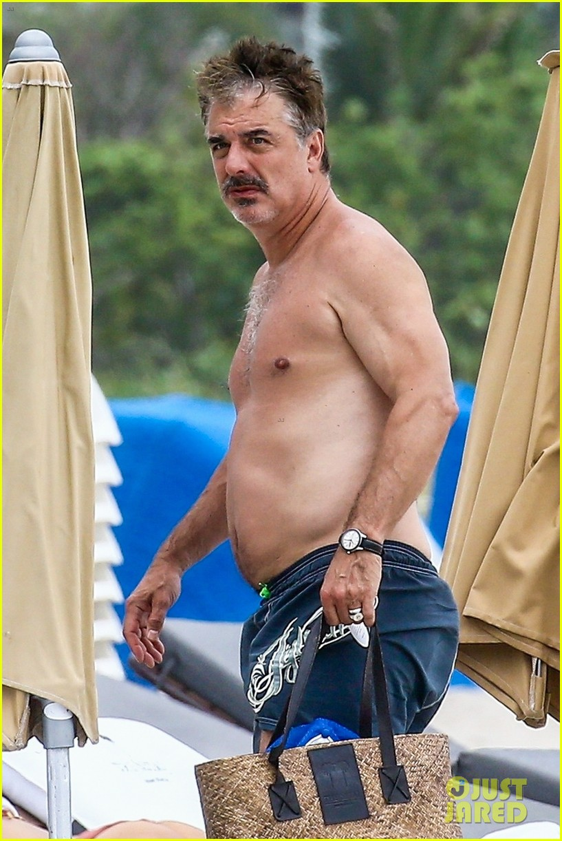 chris noth goes shirtless on the beach during miami vacation 02