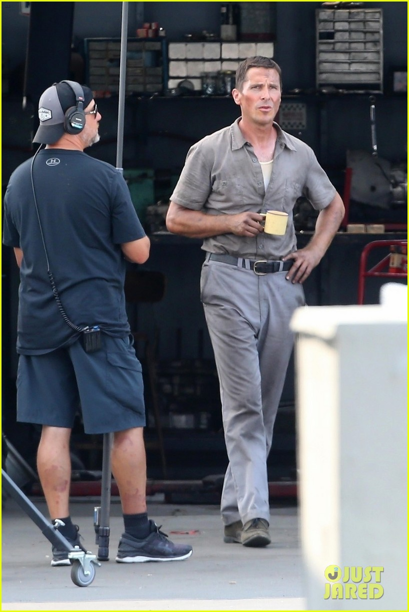 christian bale sports slimmed down figure in first ford v ferrari on set photos 064127400