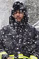 the weeknd braves nyc blizzard to take dog for a walk 04