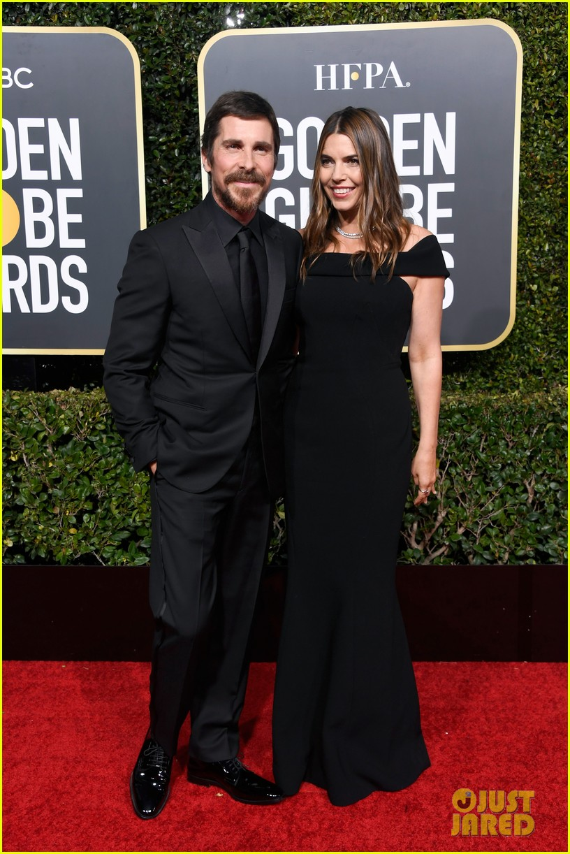 christian bale is supported by wife sibi golden globes 01