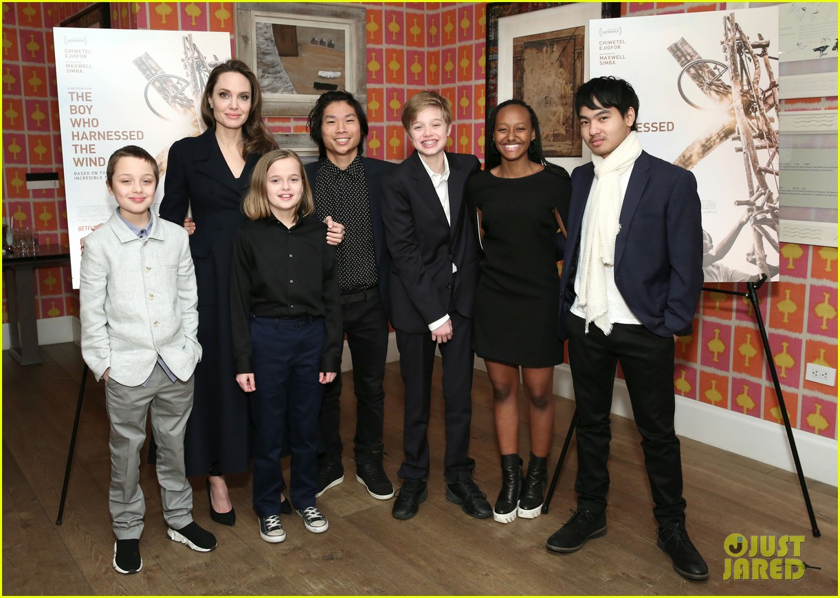 angelina jolie hosts screening with all six children 06
