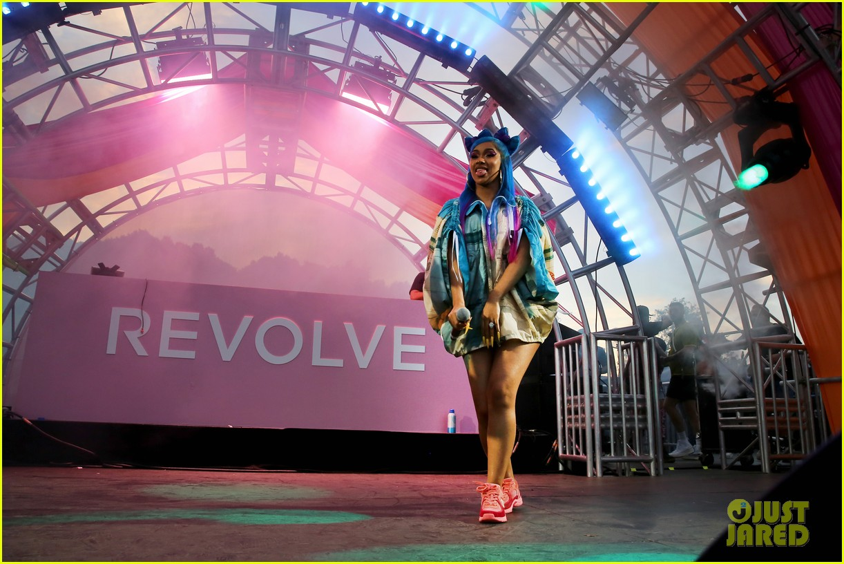 cardi b hits the stage at revolve party at coachella 08