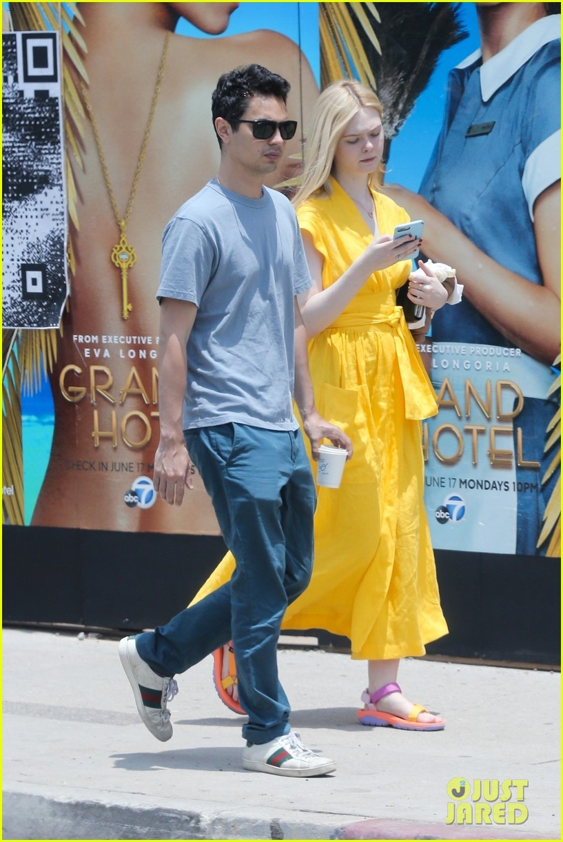 elle fanning holds hands max minghella shopping 034310264