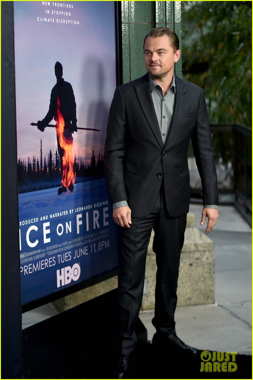 leonardo dicaprio suits up for hbo ice on fire premiere 034304204