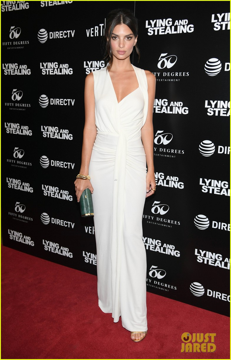 emily ratajkowski wows in white dress at lying and stealing screening in nyc 07