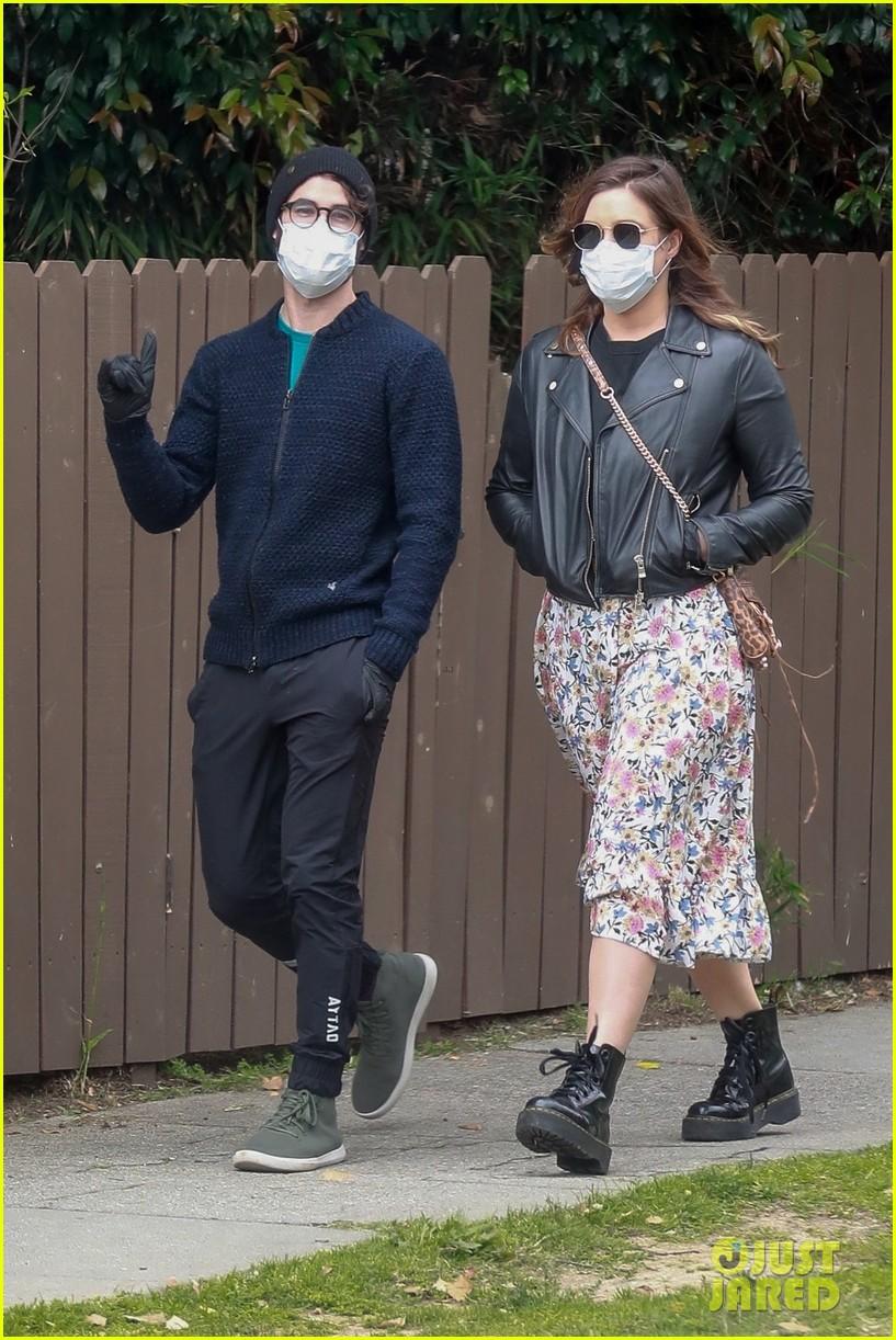 darren criss wife mia cover up for walk around their neighborhood 03