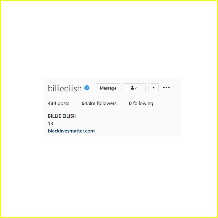 billie eilish unfollows everyone instagram 01