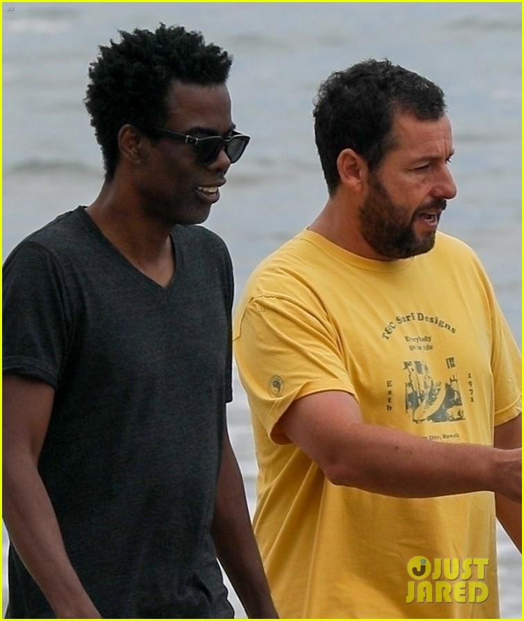 adam sandler meets up with chris rock walk on the beach 02