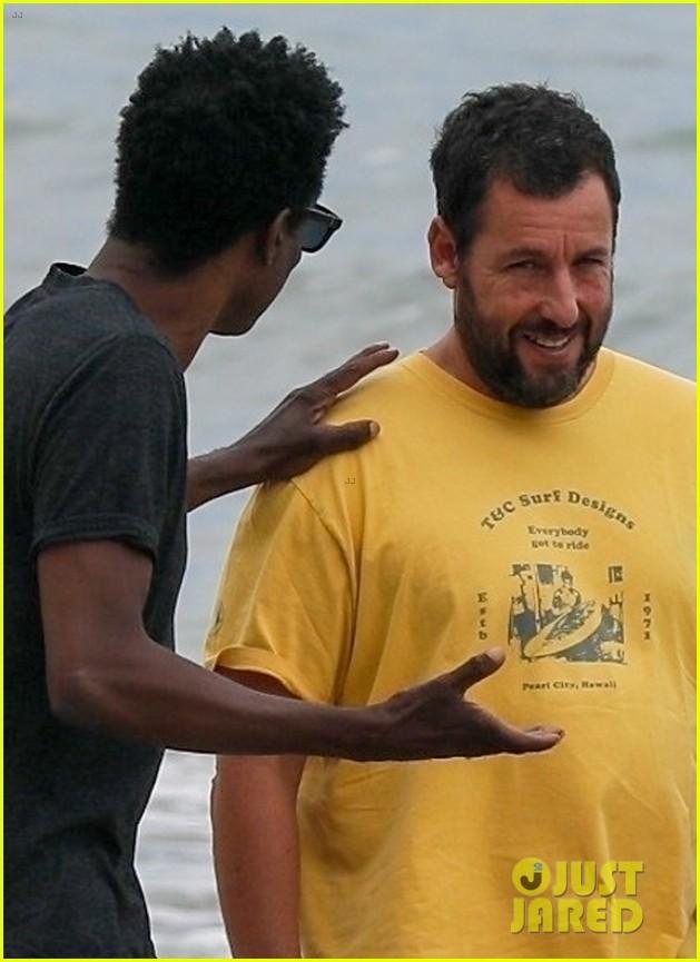 adam sandler meets up with chris rock walk on the beach 04