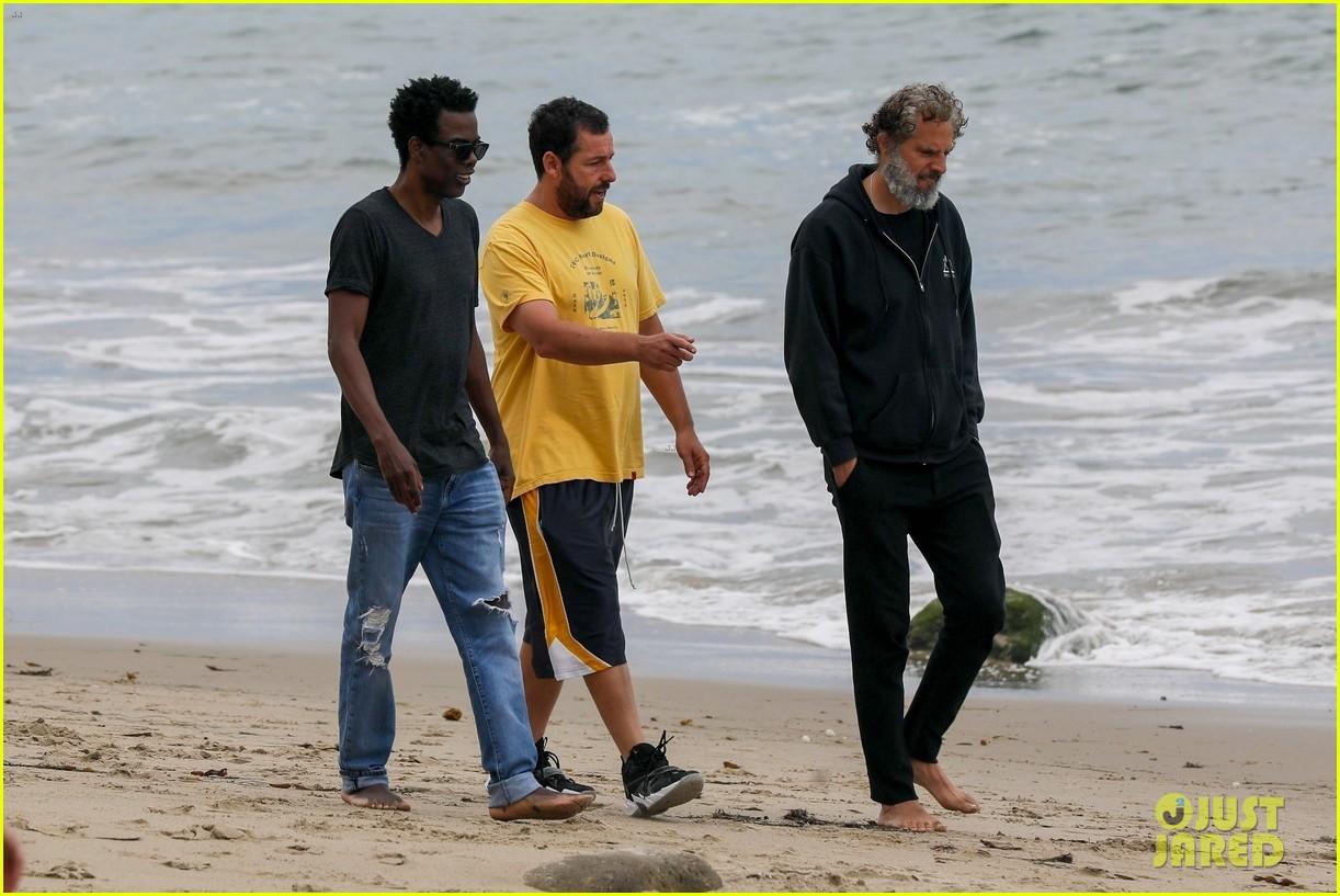 adam sandler meets up with chris rock walk on the beach 05