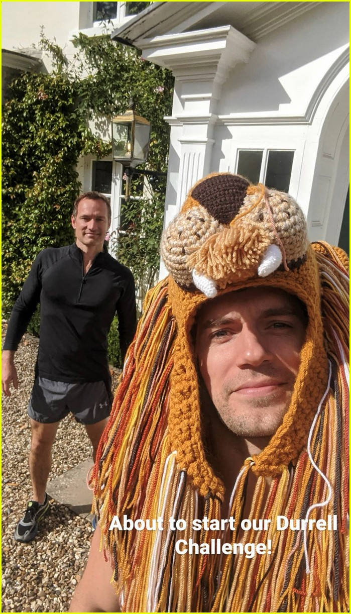 henry cavill goes running in lion hat for durrell challenge 01