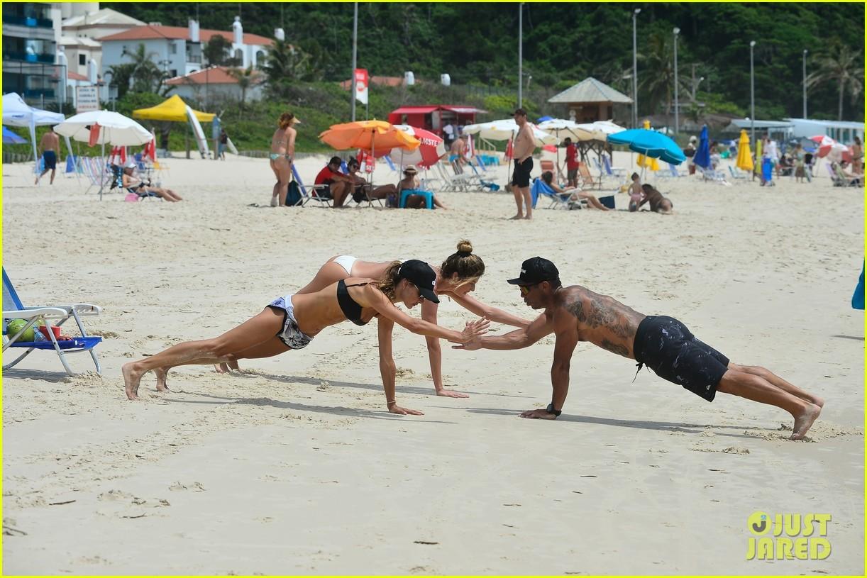 alessandara ambrosio enjoys workout on beach brazil 02