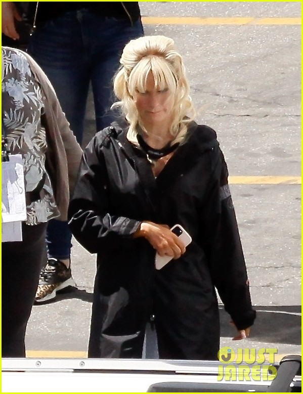lily james as pamela anderson first set photos 01