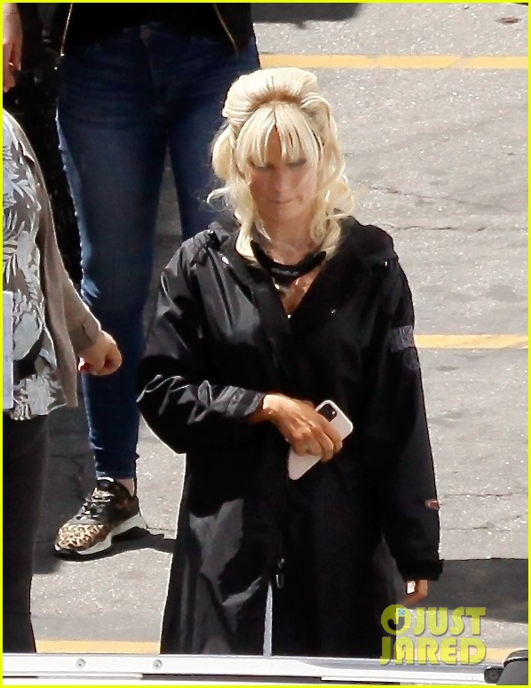lily james as pamela anderson first set photos 02