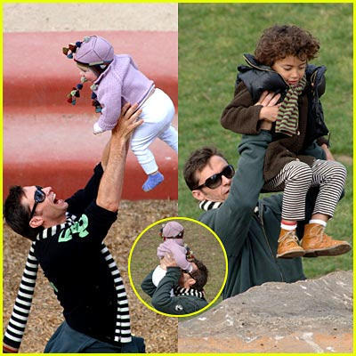Hugh Jackman's Kids Play in the Park