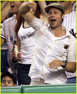 Brad Pitt & Maddox: Let's Go Yankees!