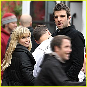 Zachary Quinto And Kristen Bell Kiss