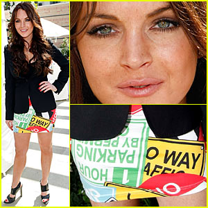 Lindsay Lohan's Traffic Sign Skirt