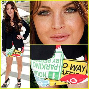 Lindsay Lohan's Traffic Sign Skirt