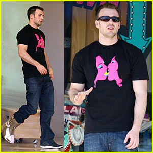 Chris Evans Shops Snowboards in Springtime