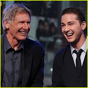Shia LaBeouf & Harrison Ford Laugh It Up