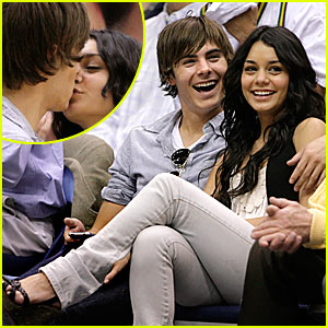 Zac & Vanessa: Kissing on the Court!