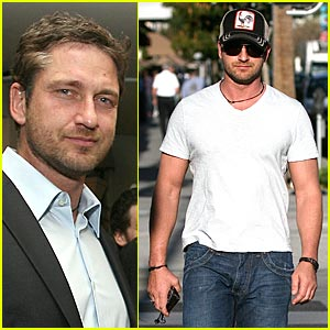 Rock N Rolla star Gerald Butler shops for a new pair of shoes at the Geox