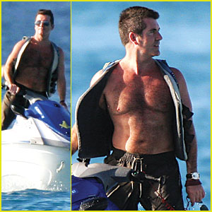 Simon Cowell is a Shirtless Skiier