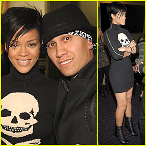Skull sexy Rihanna lends her support at the the Black Eyed Peas Peapod ...