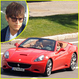 Ashton Kutcher Fires Up The Ferrari