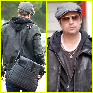 Brad Pitt Bags Out In Burberry