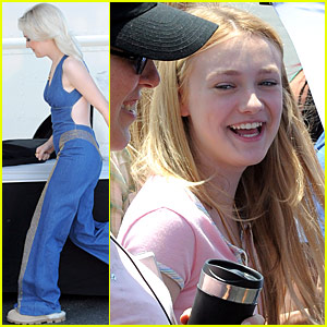 Dakota Fanning Dons Denim Jumpsuit