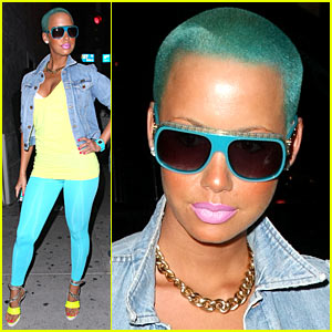 Swell Amber Rose Sports Blue Green Hair Amber Rose Just Jared Short Hairstyles For Black Women Fulllsitofus