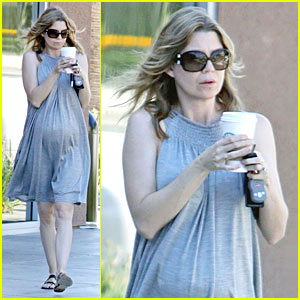 Ellen Pompeo: Pregnant Coffee Run!