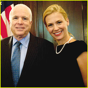 January Jones & John McCain Talk Sharks