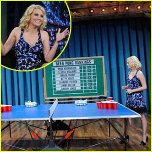 January Jones: Beer Pong with Jimmy Fallon!
