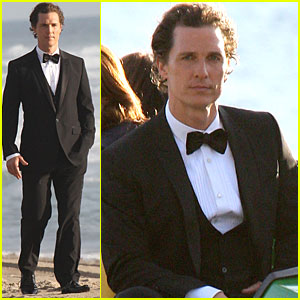 Matthew McConaughey Hits The Beach in a Tuxedo