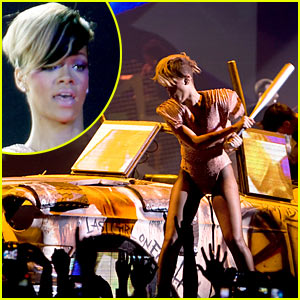 Rihanna Swings Bat at Car