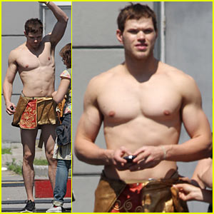 Shirtless Kellan Lutz Dons Loincloth as Poseidon