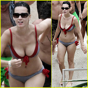 Katy Perry slips into a cute bikini and hits the water slides at
