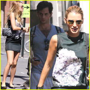 Blake Lively & Penn Badgley: Walking to Work