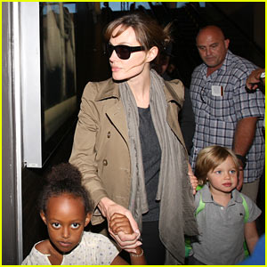 Angelina Jolie: LAX Departure with Shiloh and Zahara