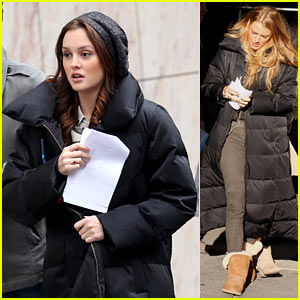 Blake Lively & Leighton Meester Bundle Up for 'G