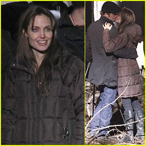 Angelina Jolie: Kiss Behind the Camera with Brad Pitt!